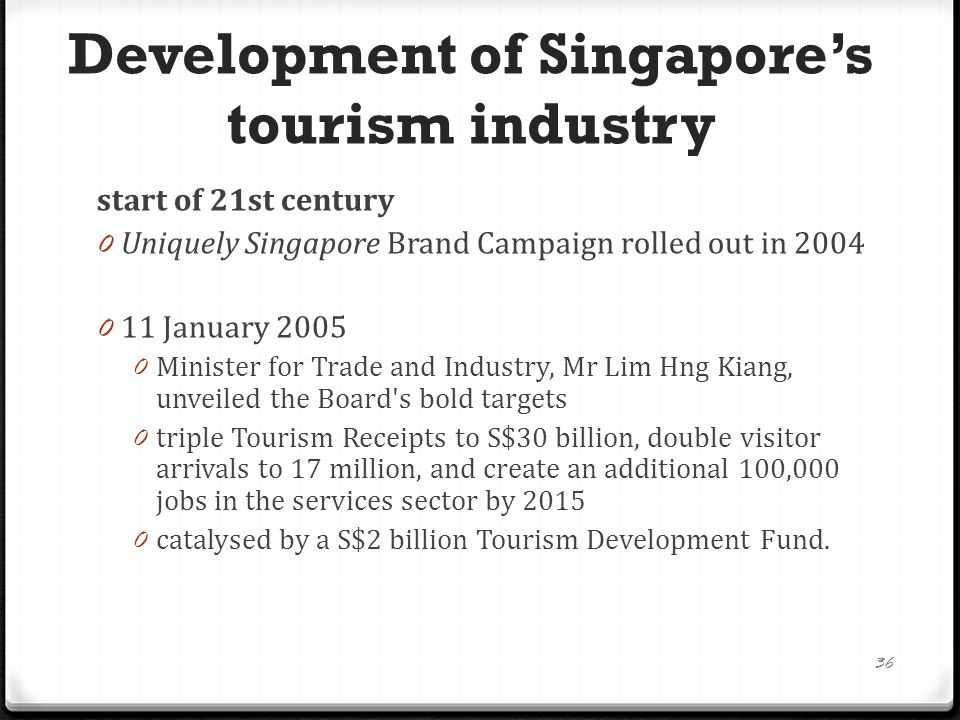 Development of Singapore's tourism industry start of 21st century 0 Uniquely Singapore Brand Campaign rolled out in 2004 0 11 January 2005 0 Minister for Trade and Industry, Mr Lim Hng Kiang, unveiled the Board s bold targets 0 triple Tourism Receipts to S$30 billion, double visitor arrivals to 17 million, and create an additional 100,000 jobs in the services sector by 2015 0 catalysed by a S$2 billion Tourism Development Fund.