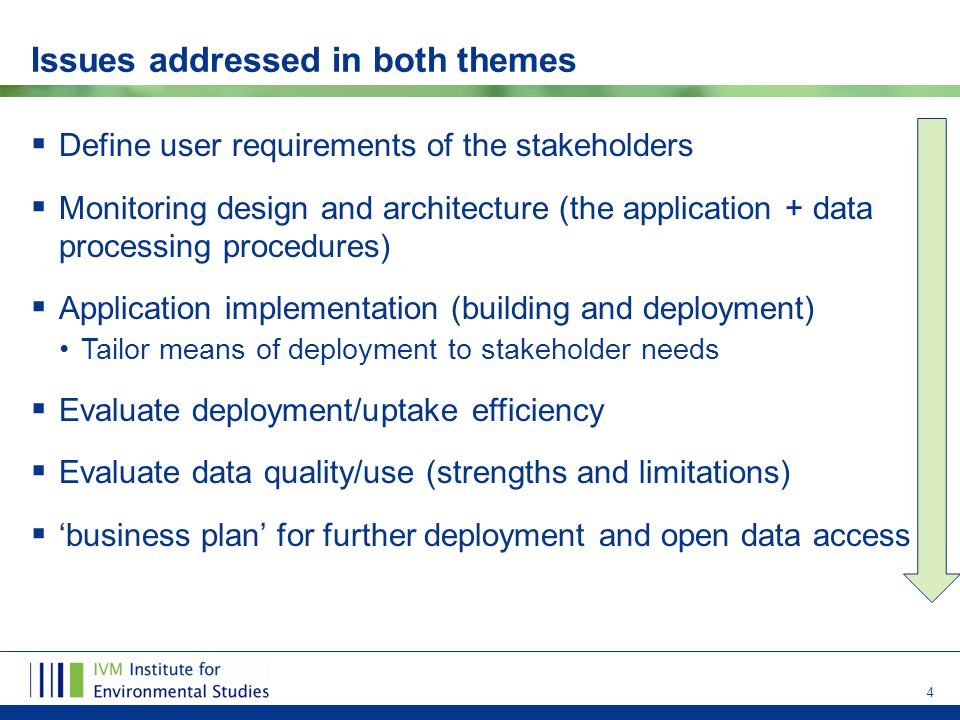 4 Issues addressed in both themes  Define user requirements of the stakeholders  Monitoring design and architecture (the application + data processing procedures)  Application implementation (building and deployment) Tailor means of deployment to stakeholder needs  Evaluate deployment/uptake efficiency  Evaluate data quality/use (strengths and limitations)  'business plan' for further deployment and open data access