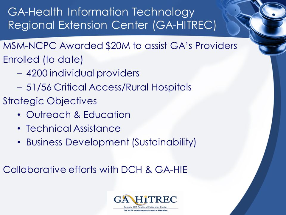 GA-Health Information Technology Regional Extension Center (GA-HITREC) MSM-NCPC Awarded $20M to assist GA's Providers Enrolled (to date) –4200 individual providers –51/56 Critical Access/Rural Hospitals Strategic Objectives Outreach & Education Technical Assistance Business Development (Sustainability) Collaborative efforts with DCH & GA-HIE