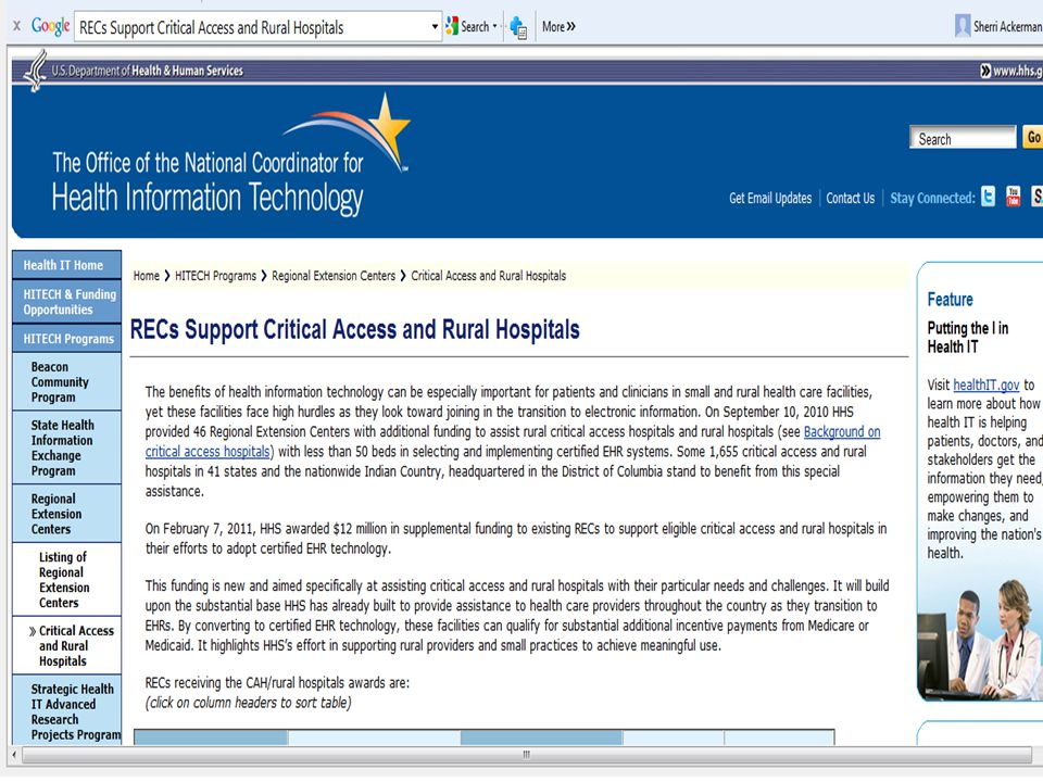 RECs Support Critical Access and Rural Hospitals  RECs Support Critical Access and Rural Hospitals