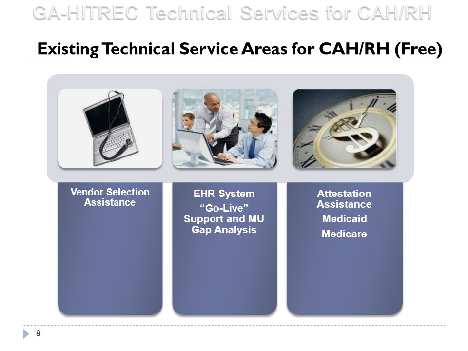 """8 Vendor Selection Assistance EHR System """"Go-Live"""" Support and MU Gap Analysis Attestation Assistance Medicaid Medicare Existing Technical Service Are"""