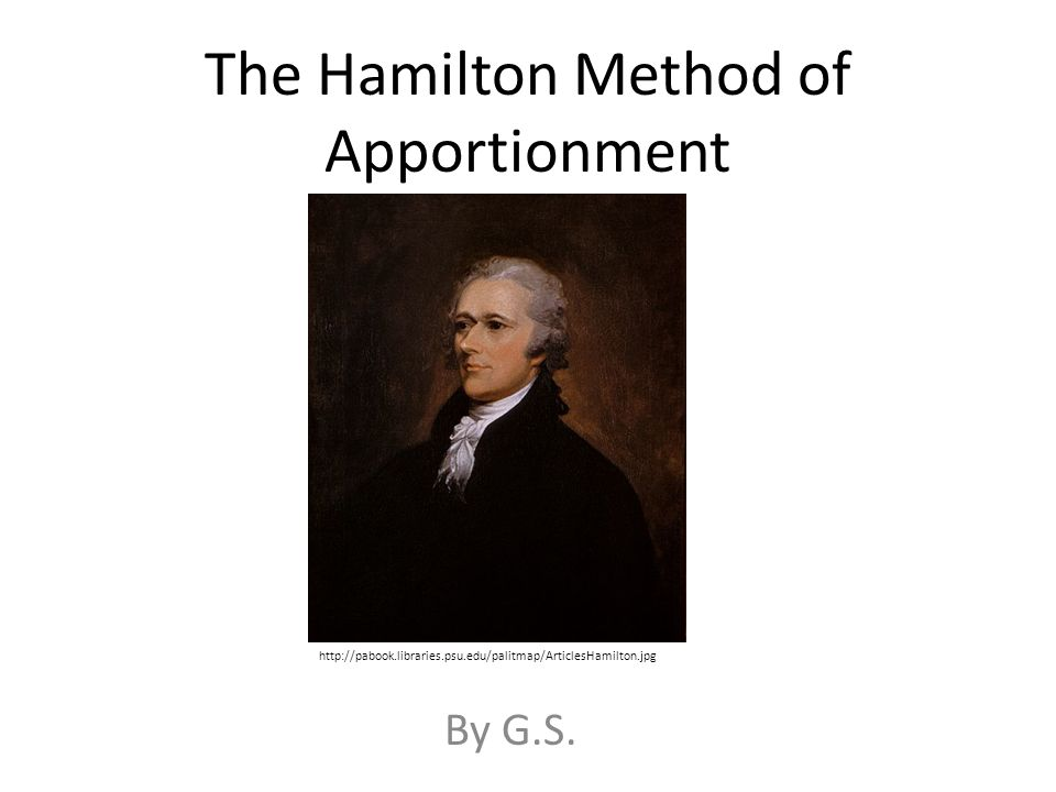 The Hamilton Method of Apportionment By G.S.