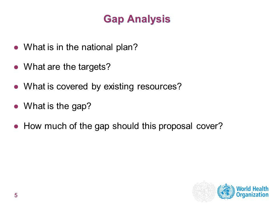 5 Gap Analysis ●What is in the national plan. ●What are the targets.