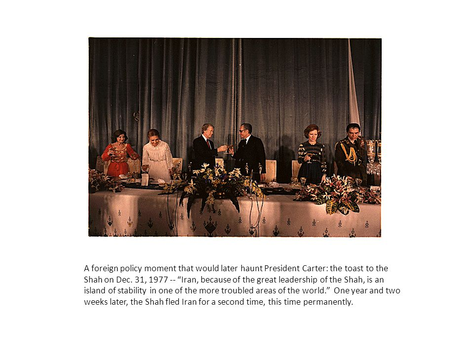 A foreign policy moment that would later haunt President Carter: the toast to the Shah on Dec.
