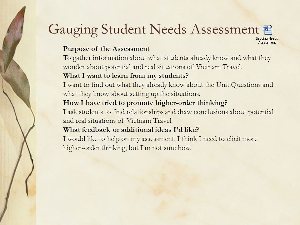 Gauging Student Needs Assessment Purpose of the Assessment To gather information about what students already know and what they wonder about potential and real situations of Vietnam Travel.