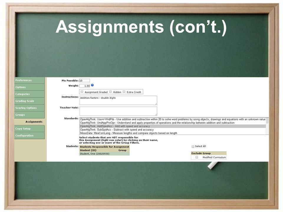 Assignments (con't.)
