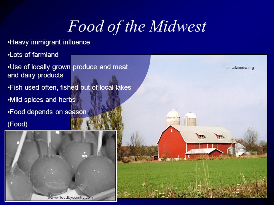 Heavy immigrant influence Lots of farmland Use of locally grown produce and meat, and dairy products Fish used often, fished out of local lakes Mild spices and herbs Food depends on season (Food) Food of the Midwest en.wikipedia.org www.foodbycountry.com