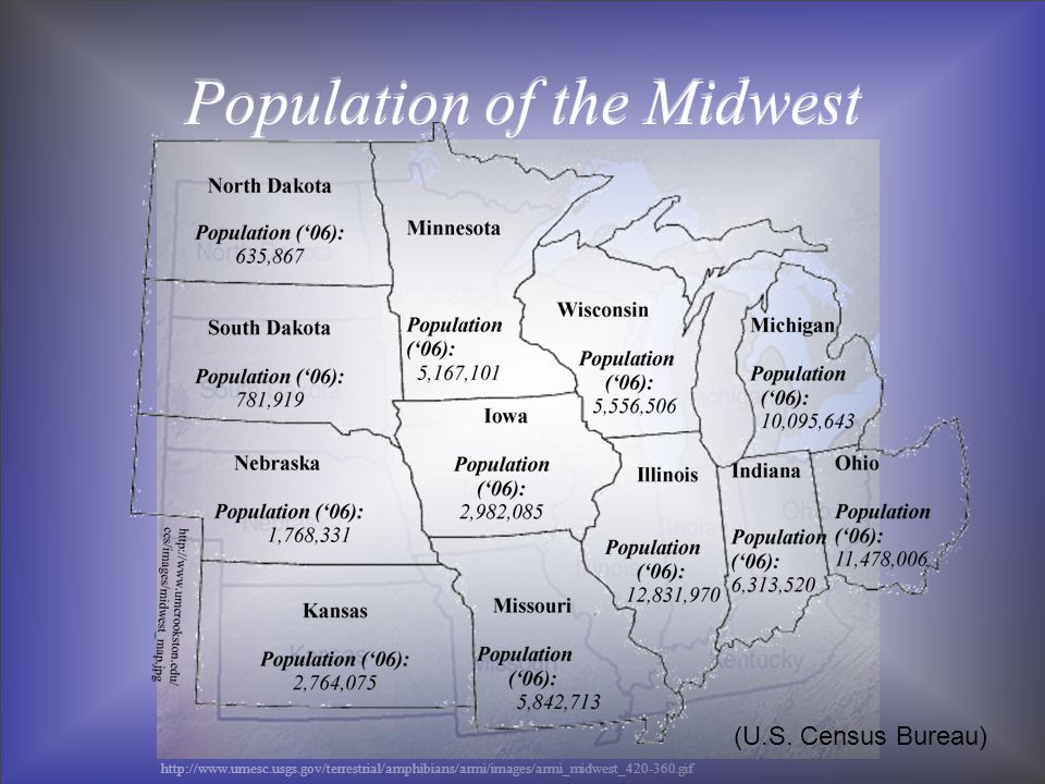 Population of the Midwest http://www.umesc.usgs.gov/terrestrial/amphibians/armi/images/armi_midwest_420-360.gif Population of the Midwest (U.S.