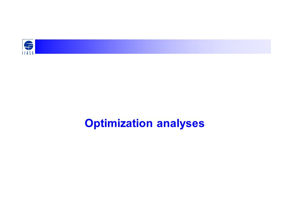 Optimization analyses