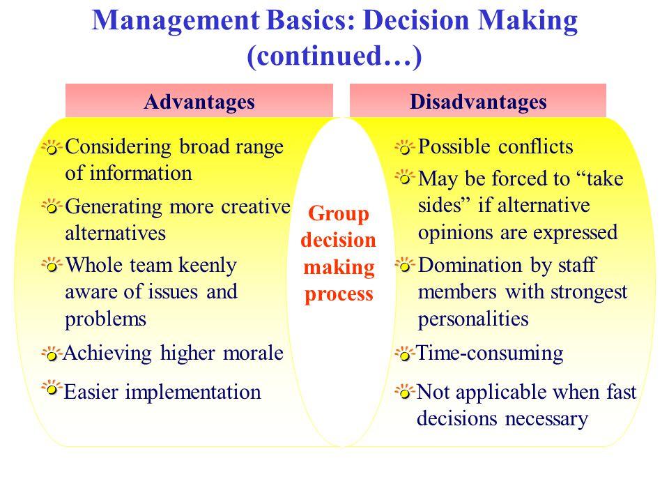 Management Basics: Decision Making (continued…) AdvantagesDisadvantages Group decision making process Considering broad range of information Generatin
