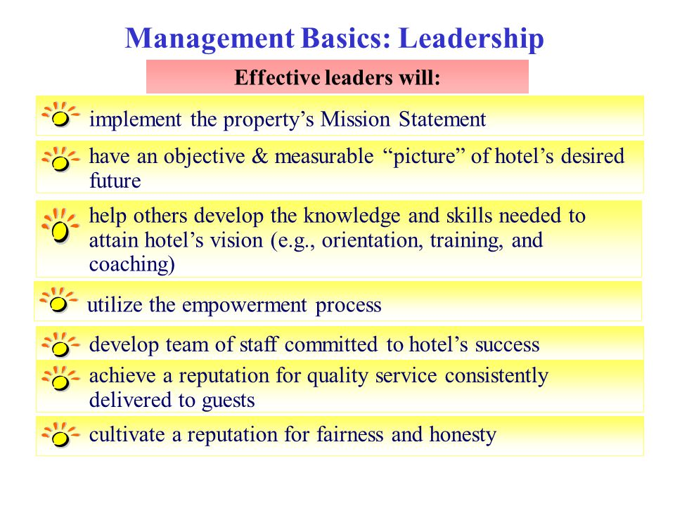 """Management Basics: Leadership Effective leaders will: implement the property's Mission Statement have an objective & measurable """"picture"""" of hotel's d"""