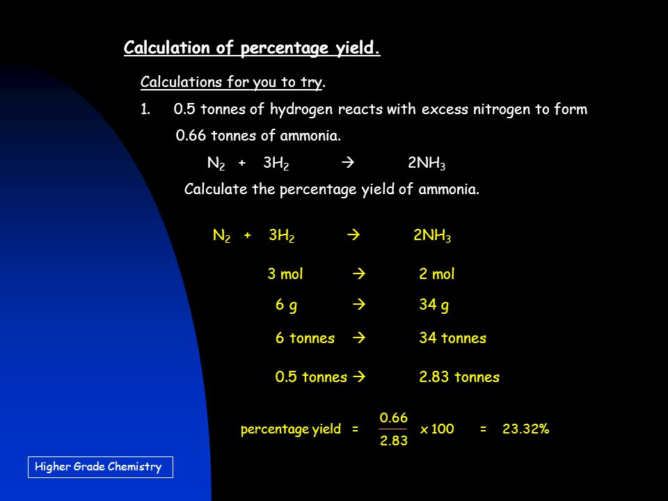 Higher Grade Chemistry Calculation of percentage yield.