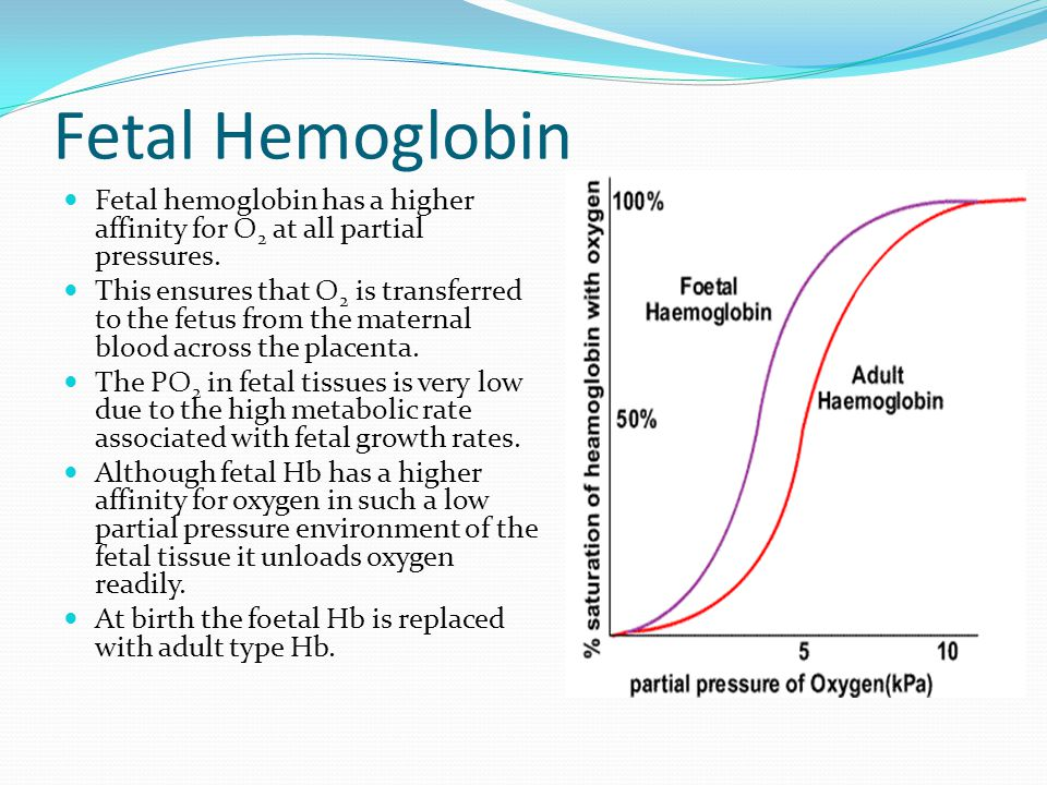 Fetal Hemoglobin Fetal hemoglobin has a higher affinity for O 2 at all partial pressures. This ensures that O 2 is transferred to the fetus from the m