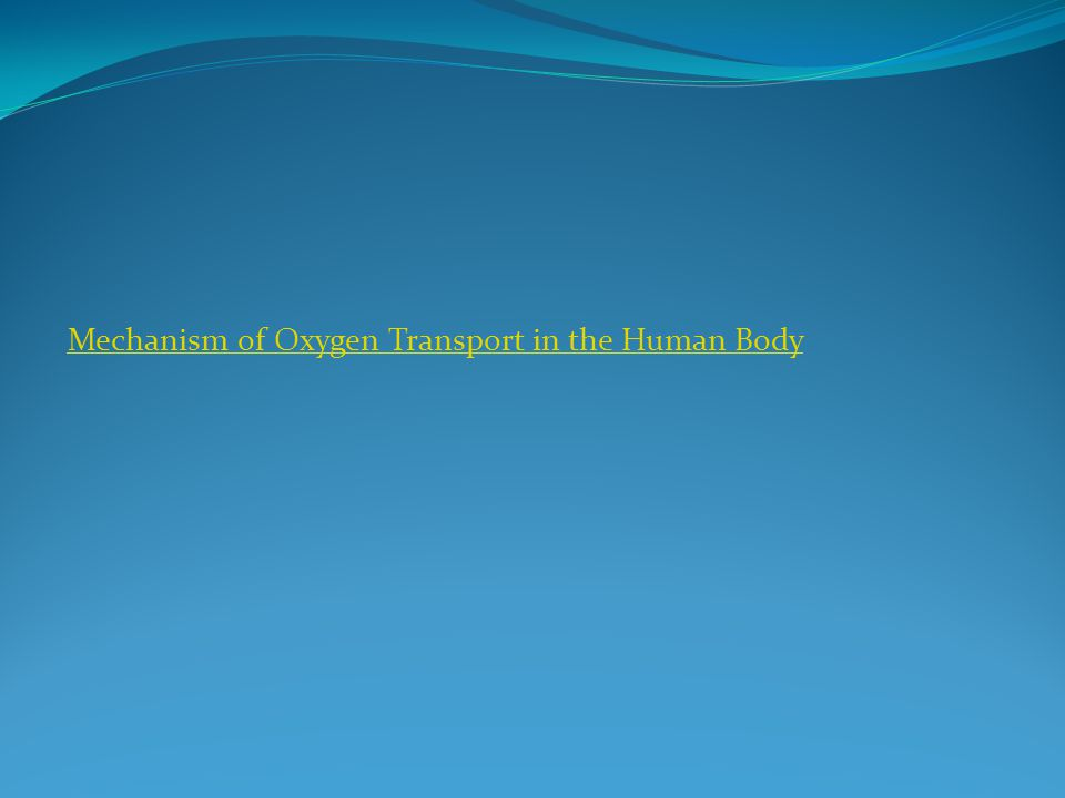 Mechanism of Oxygen Transport in the Human Body