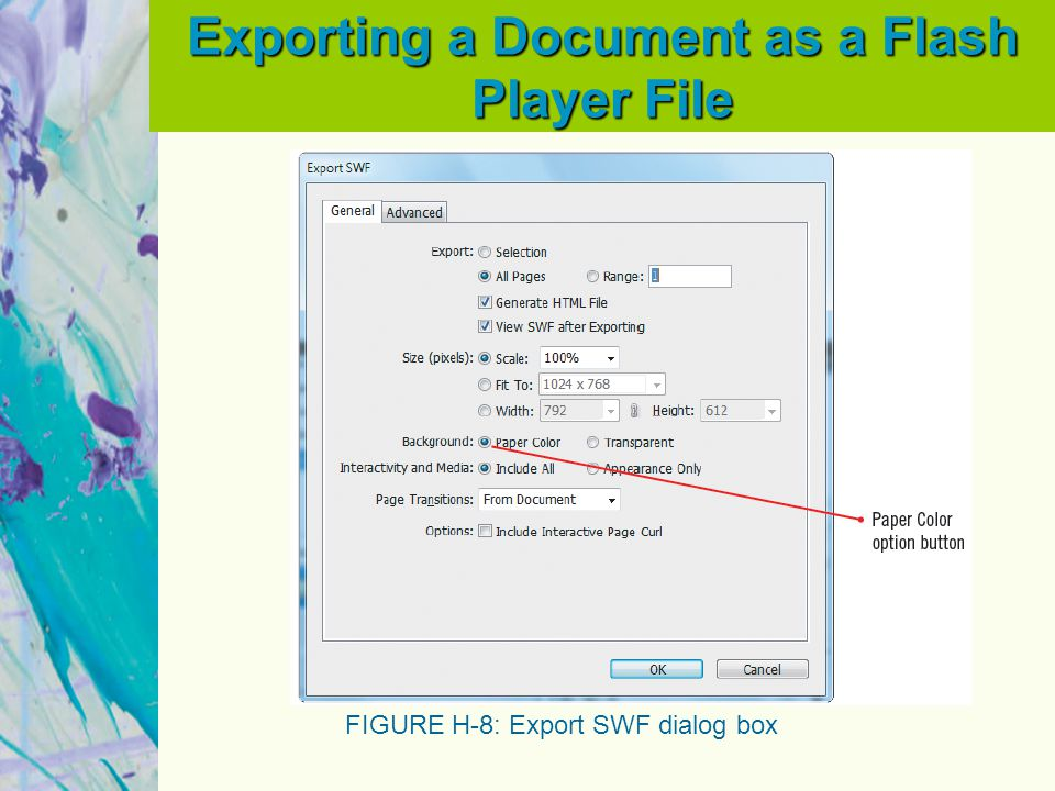 Exporting a Document as a Flash Player File FIGURE H-8: Export SWF dialog box