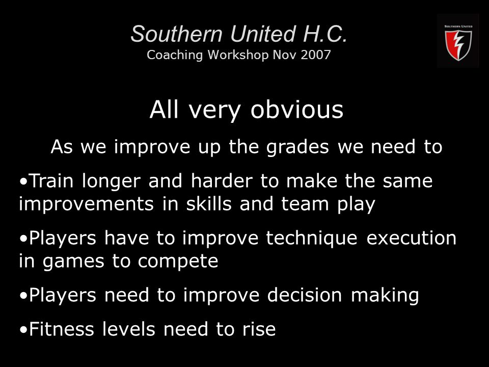 RMIT University11 Southern United H.C. Coaching Workshop Nov 2007 All very obvious As we improve up the grades we need to Train longer and harder to m