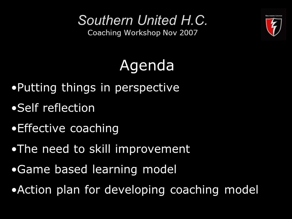 RMIT University2 Southern United H.C. Coaching Workshop Nov 2007 Agenda Putting things in perspective Self reflection Effective coaching The need to s
