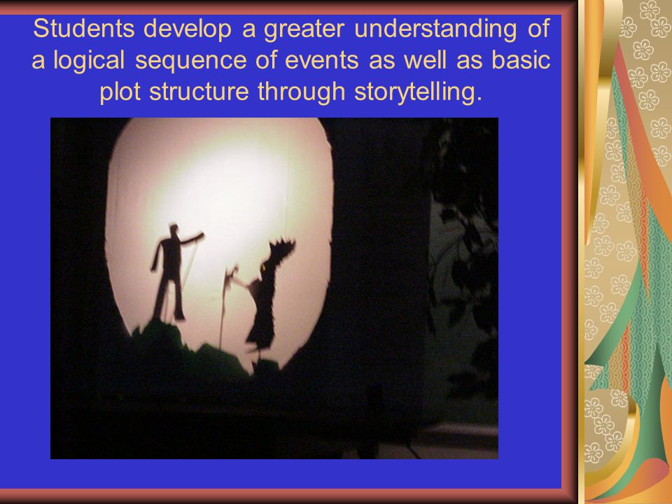 Students develop a greater understanding of a logical sequence of events as well as basic plot structure through storytelling.