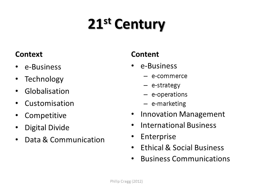 21 st Century Context e-Business Technology Globalisation Customisation Competitive Digital Divide Data & Communication Content e-Business – e-commerce – e-strategy – e-operations – e-marketing Innovation Management International Business Enterprise Ethical & Social Business Business Communications Philip Cragg (2012)
