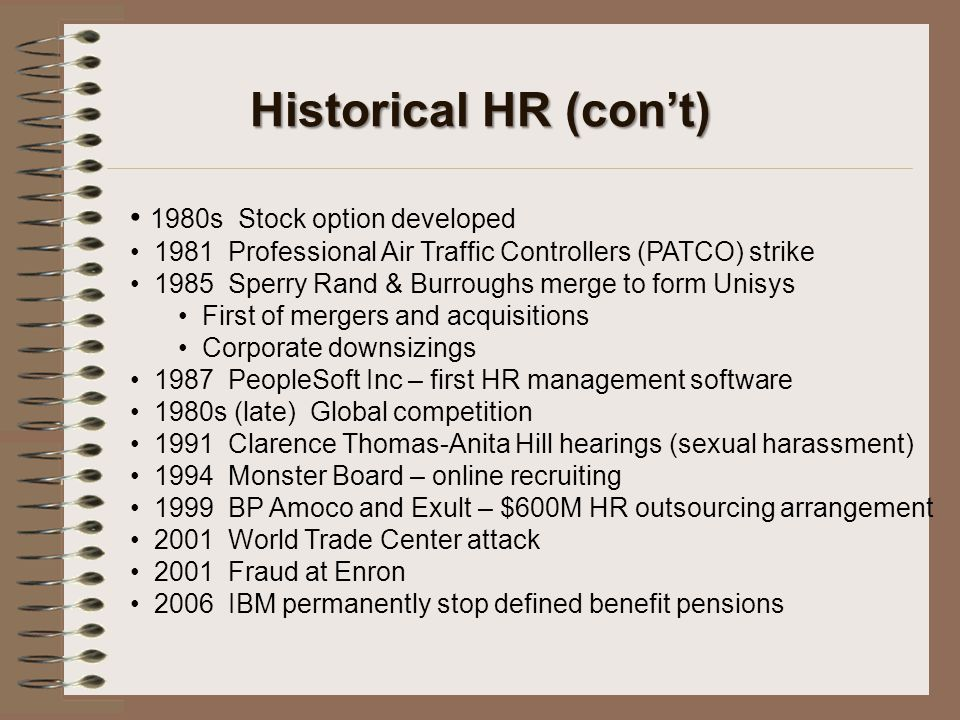 Historical HR (con't) 1980s Stock option developed 1981 Professional Air Traffic Controllers (PATCO) strike 1985 Sperry Rand & Burroughs merge to form
