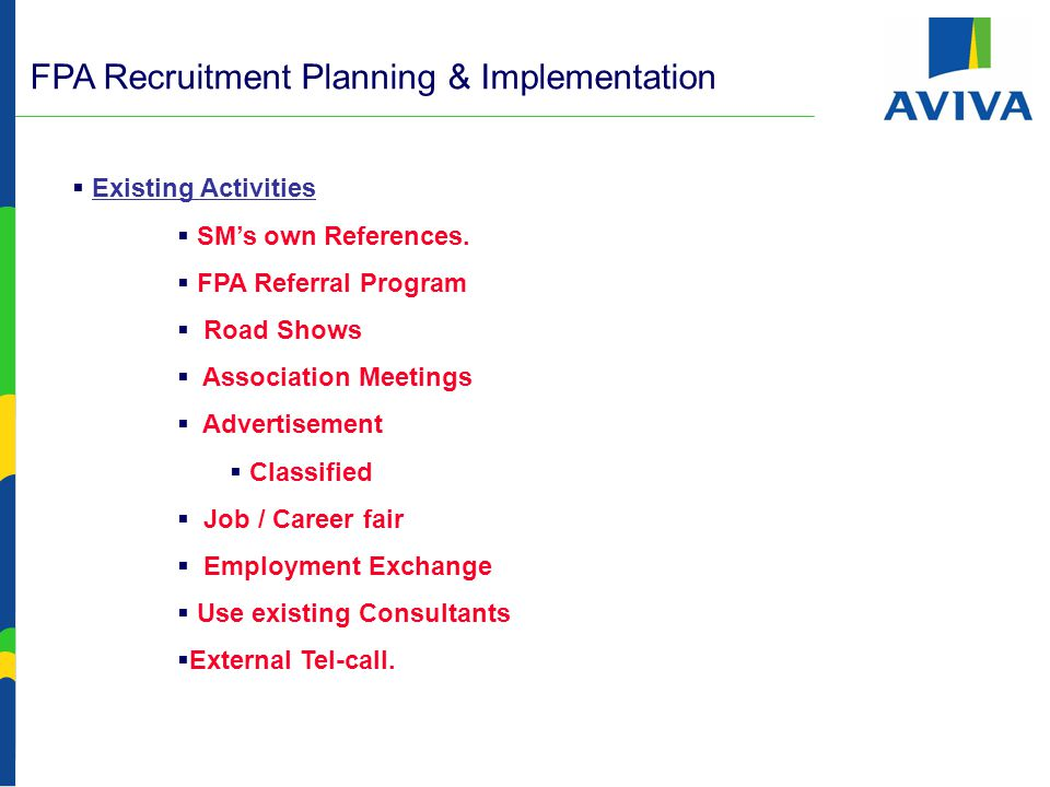 FPA Recruitment Planning & Implementation -  Existing Activities  SM's own References.
