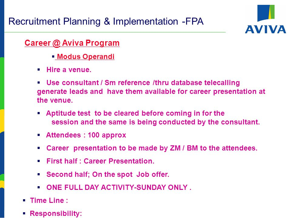 Recruitment Planning & Implementation -FPA - Activities  Aggressive Participation in Job fairs:  Times Job / Naukri.com or any other regional event.