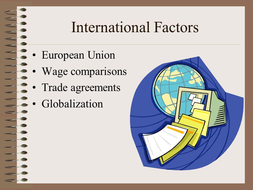International Factors European Union Wage comparisons Trade agreements Globalization