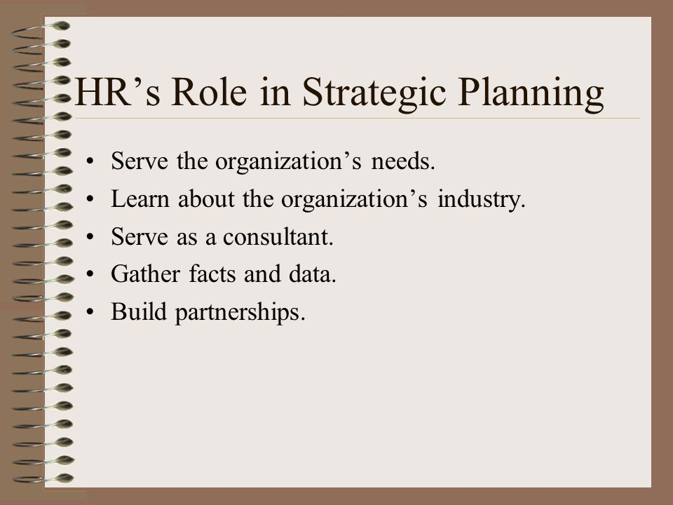 HR's Role in Strategic Planning Serve the organization's needs. Learn about the organization's industry. Serve as a consultant. Gather facts and data.