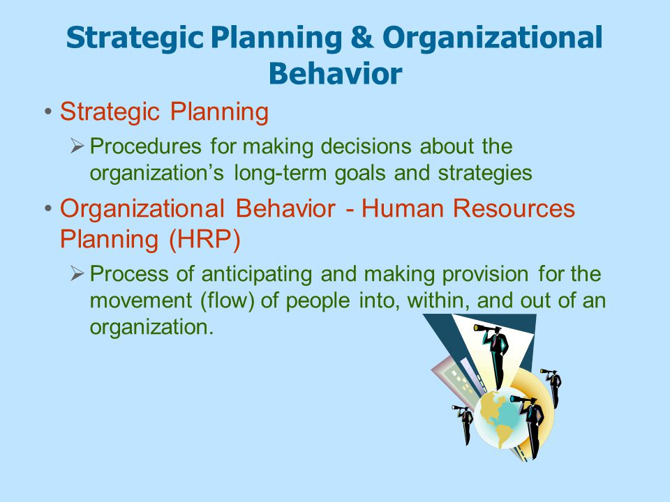 Organizational Behavior Actually Strategic Human Resources Management (SHRM)  The pattern of human resources deployments and activities that enable an organization to achieve its strategic goals  Strategy formulation—providing input as to what is possible given the types and numbers of people available.