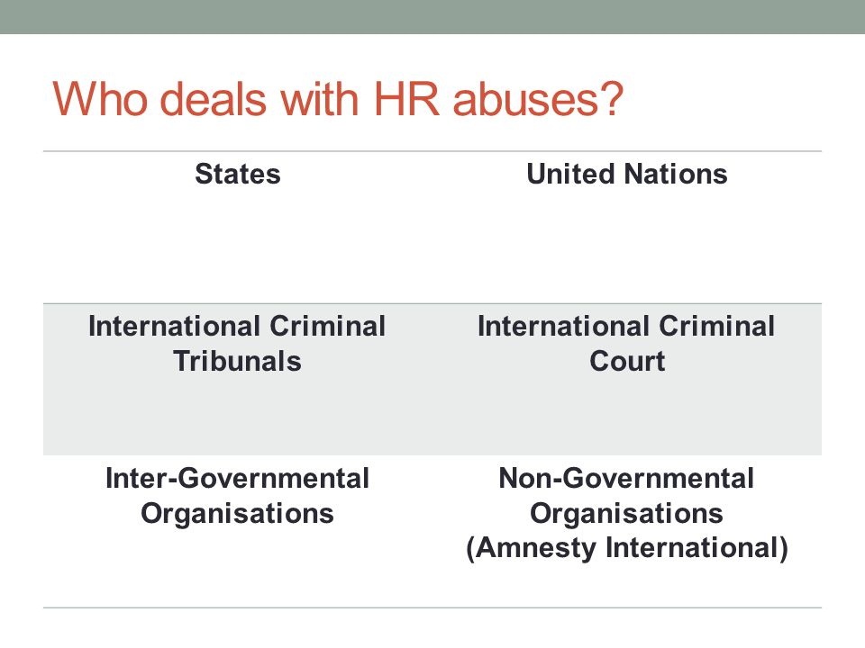 Who deals with HR abuses? StatesUnited Nations International Criminal Tribunals International Criminal Court Inter-Governmental Organisations Non-Gove
