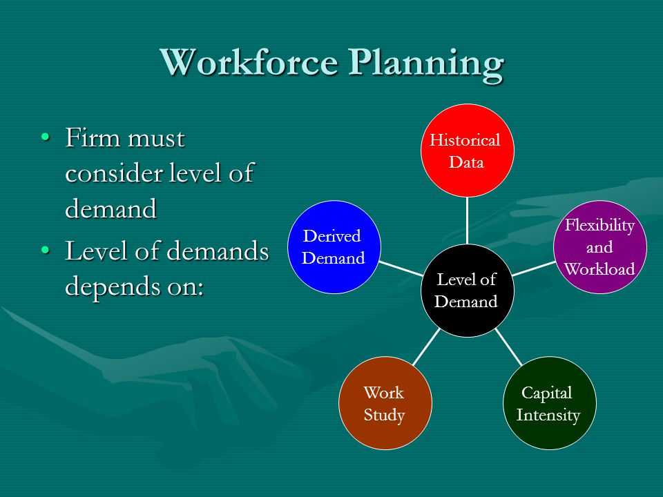 Workforce Planning Firm must consider level of demandFirm must consider level of demand Level of demands depends on:Level of demands depends on: Derived Demand Work Study Capital Intensity Flexibility and Workload Historical Data Level of Demand