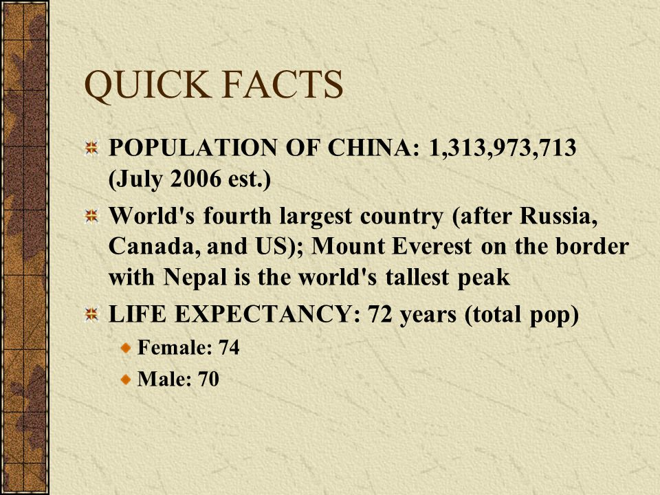 QUICK FACTS POPULATION OF CHINA: 1,313,973,713 (July 2006 est.) World's fourth largest country (after Russia, Canada, and US); Mount Everest on the bo