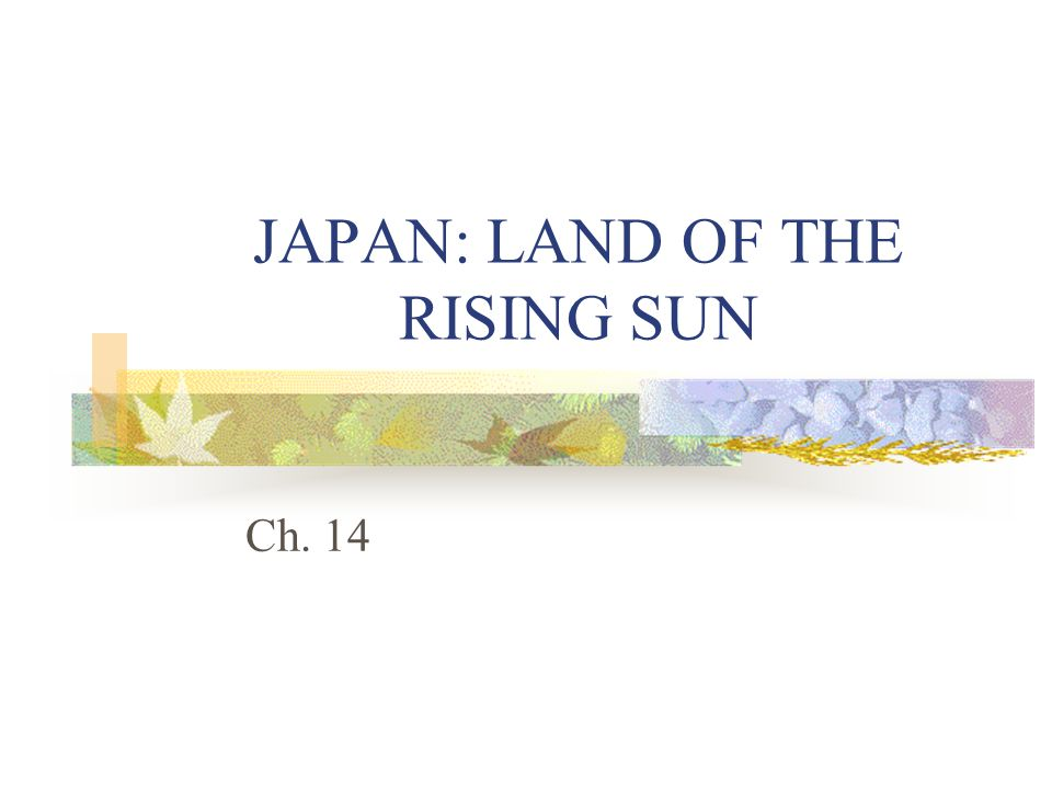 JAPAN: LAND OF THE RISING SUN Ch. 14