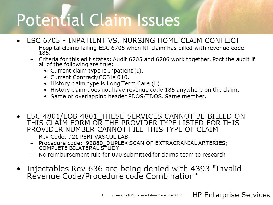 10/ Georgia MMIS Presentation December 2010 HP Enterprise Services Potential Claim Issues ESC 6705 - INPATIENT VS.