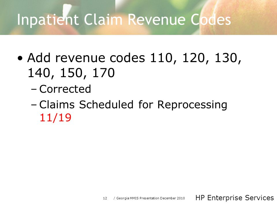 12/ Georgia MMIS Presentation December 2010 HP Enterprise Services Inpatient Claim Revenue Codes Add revenue codes 110, 120, 130, 140, 150, 170 –Corrected –Claims Scheduled for Reprocessing 11/19