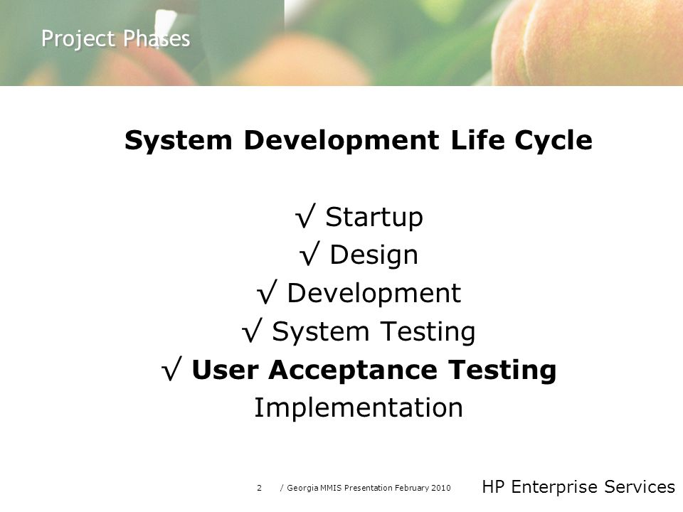 2/ Georgia MMIS Presentation February 2010 HP Enterprise Services Project Phases System Development Life Cycle √ Startup √ Design √ Development √ System Testing √ User Acceptance Testing Implementation