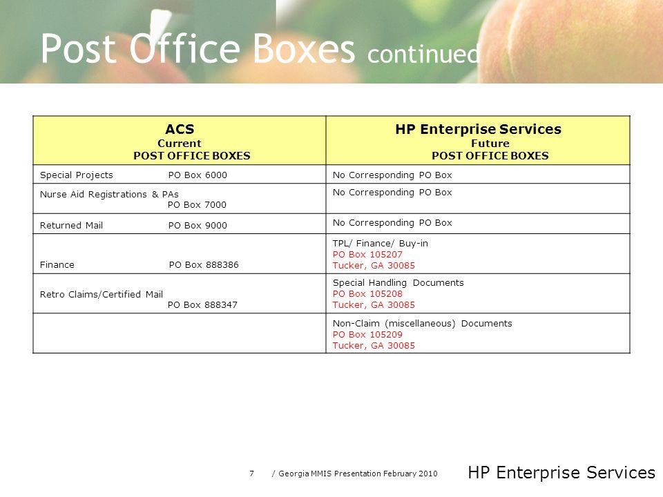 7/ Georgia MMIS Presentation February 2010 HP Enterprise Services Post Office Boxes continued ACS Current POST OFFICE BOXES HP Enterprise Services Fut
