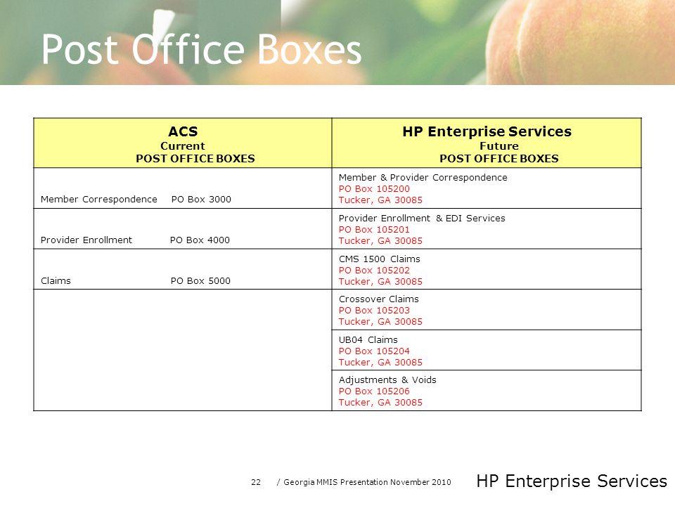22/ Georgia MMIS Presentation November 2010 HP Enterprise Services Post Office Boxes ACS Current POST OFFICE BOXES HP Enterprise Services Future POST
