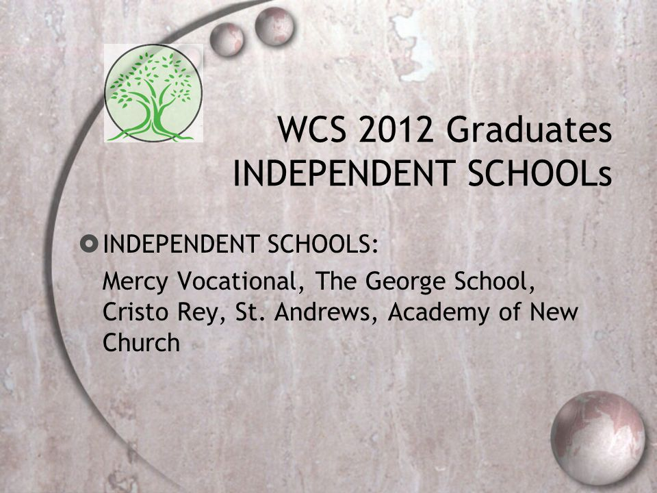 WCS 2012 Graduates INDEPENDENT SCHOOLs  INDEPENDENT SCHOOLS: Mercy Vocational, The George School, Cristo Rey, St.