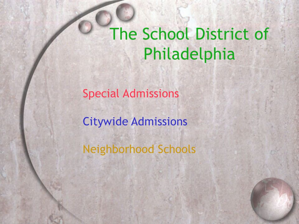 Charter Schools  Admission Criteria : *Not part of School District of Philadelphia Admissions process *Must contact schools directly to obtain information about academic, specialty, career and technical program offerings, to learn about admissions/applications  These schools admit students based upon lottery, so even though an application may be submitted early, that doesn't guarantee admittance, however, apply early!