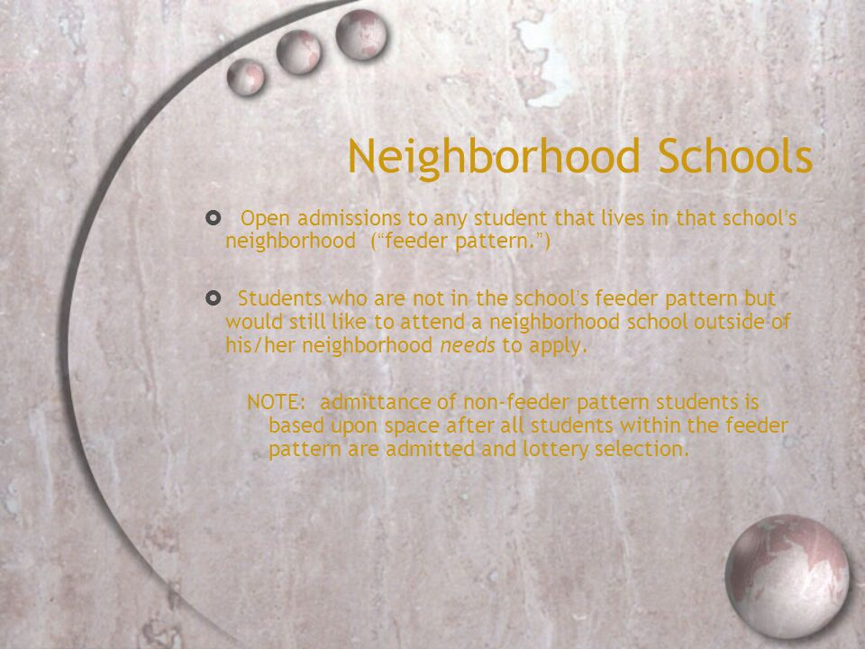 Neighborhood Schools  Open admissions to any student that lives in that school's neighborhood ( feeder pattern. )  Students who are not in the school's feeder pattern but would still like to attend a neighborhood school outside of his/her neighborhood needs to apply.
