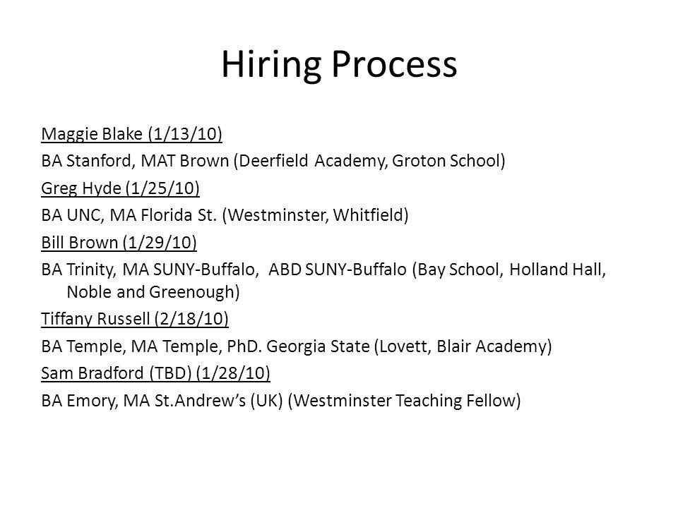 Hiring Process Maggie Blake (1/13/10) BA Stanford, MAT Brown (Deerfield Academy, Groton School) Greg Hyde (1/25/10) BA UNC, MA Florida St.