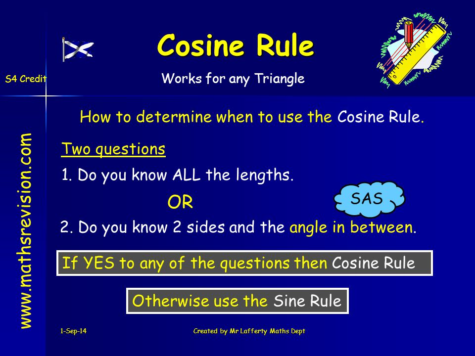 1-Sep-14Created by Mr Lafferty Maths Dept Cosine Rule www.mathsrevision.com S4 Credit How to determine when to use the Cosine Rule.
