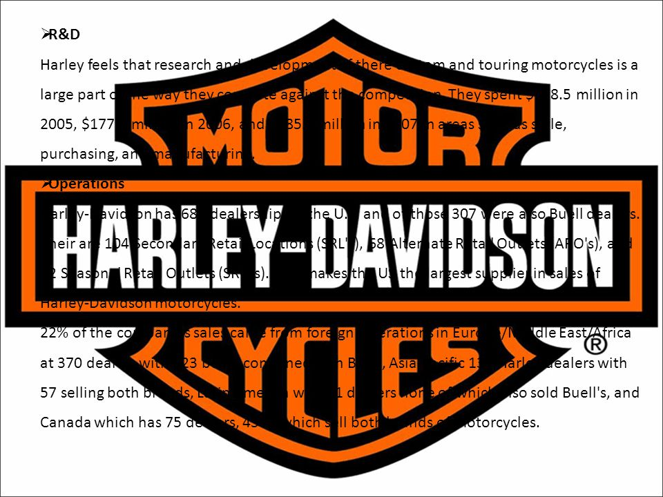  R&D Harley feels that research and development of there custom and touring motorcycles is a large part of the way they compete against the competiti