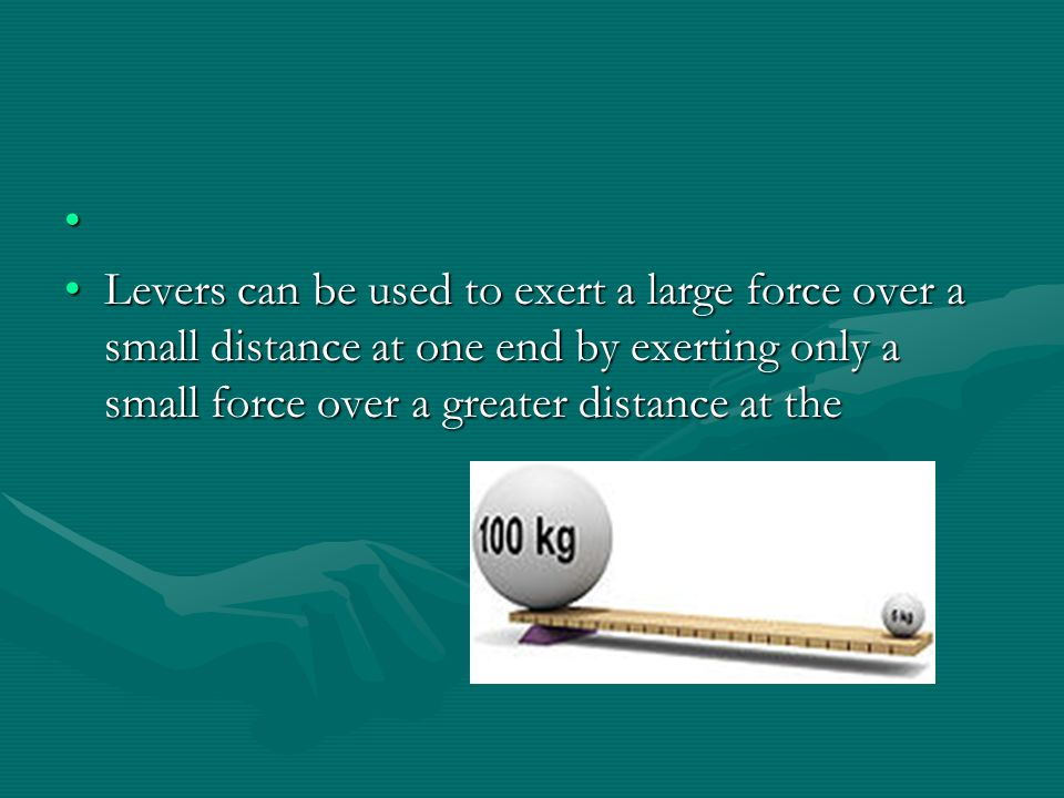 A lever is a rigid object that is used with a pivot point to multiply the mechanical force that can be applied to another object.