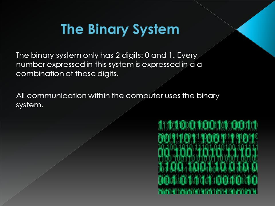 The binary system only has 2 digits: 0 and 1.