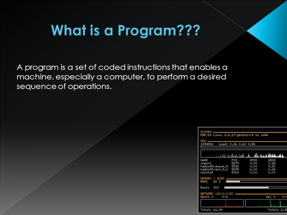 A program is a set of coded instructions that enables a machine, especially a computer, to perform a desired sequence of operations.