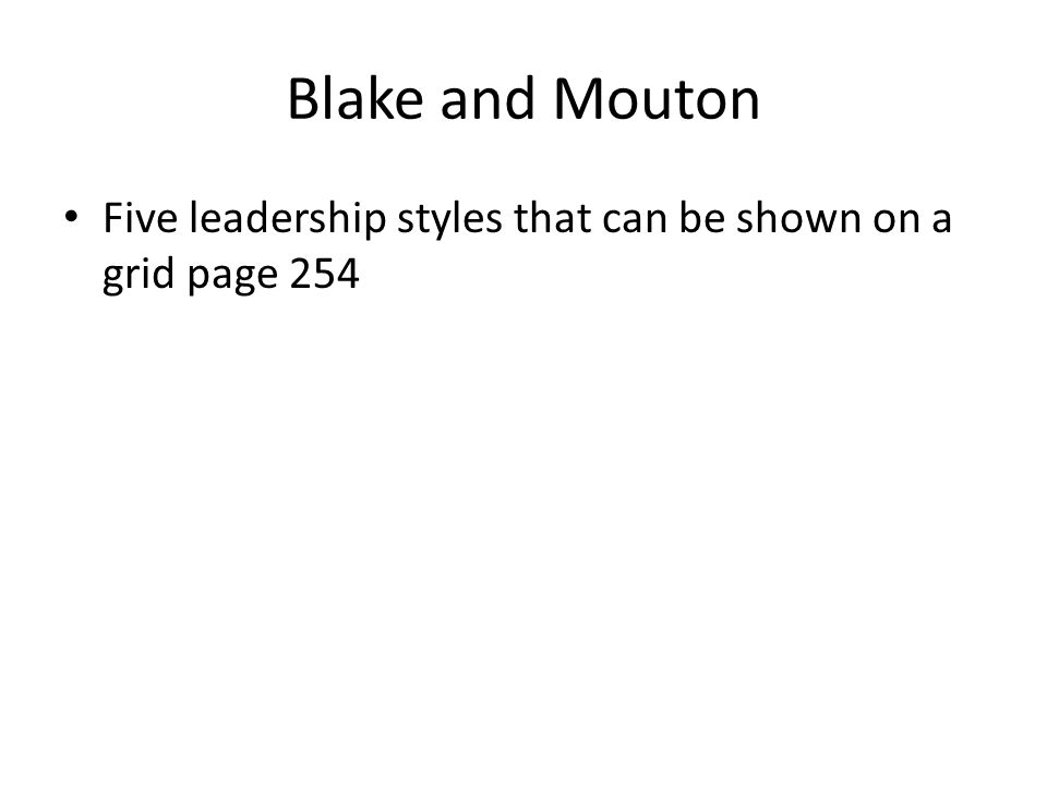 Blake and Mouton Five leadership styles that can be shown on a grid page 254