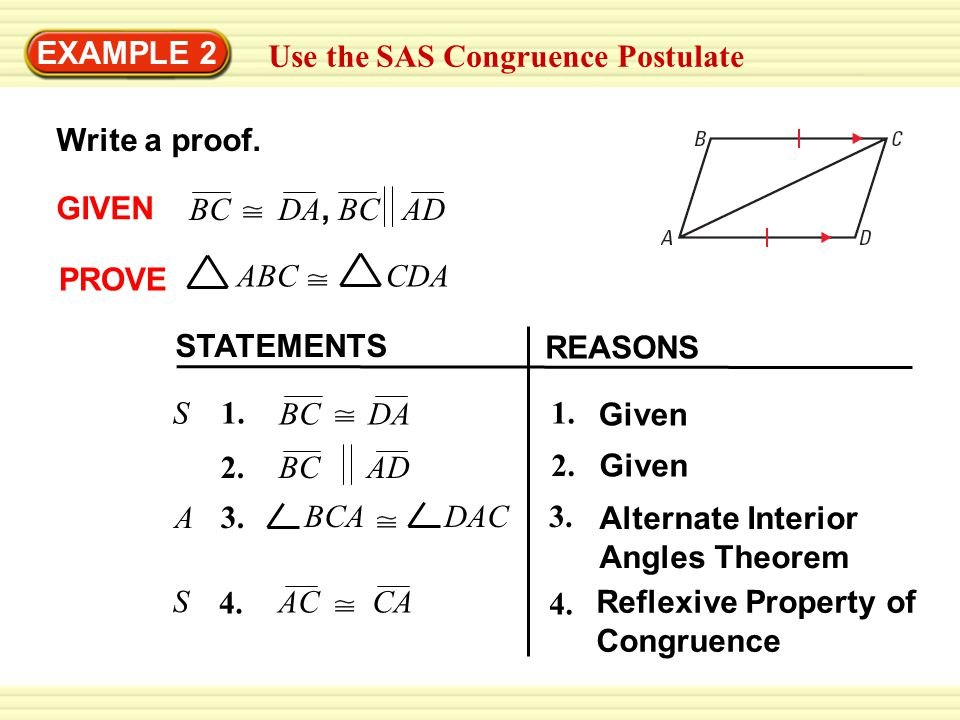 EXAMPLE 2 Use the SAS Congruence Postulate Write a proof.