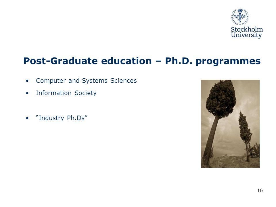 Post-Graduate education – Ph.D.